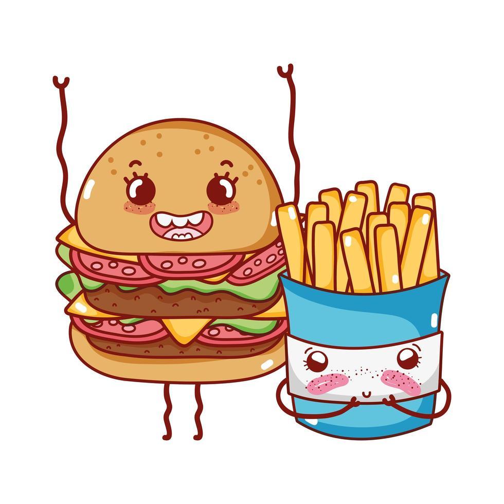 fast food carino hamburger e patatine fritte cartone animato vettore