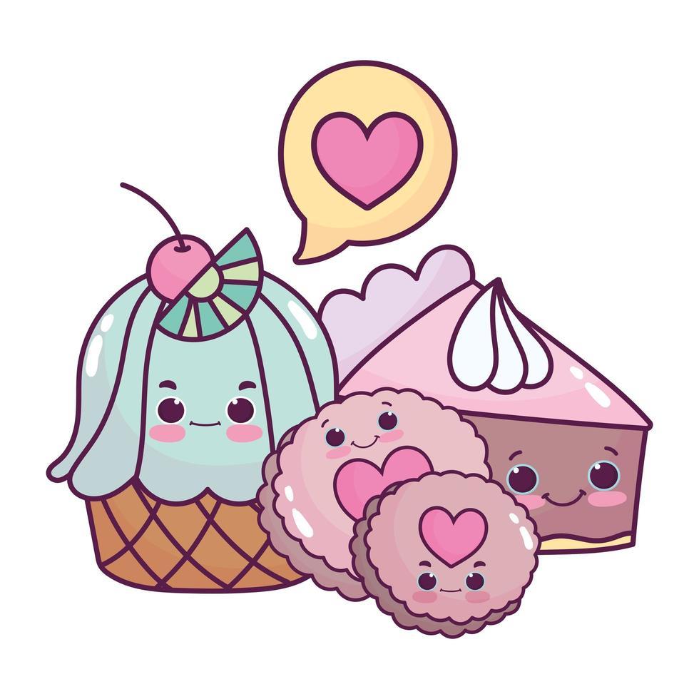 carino cibo cupcake torta e biscotti dolce dessert pasticceria cartone animato isolato design vettore
