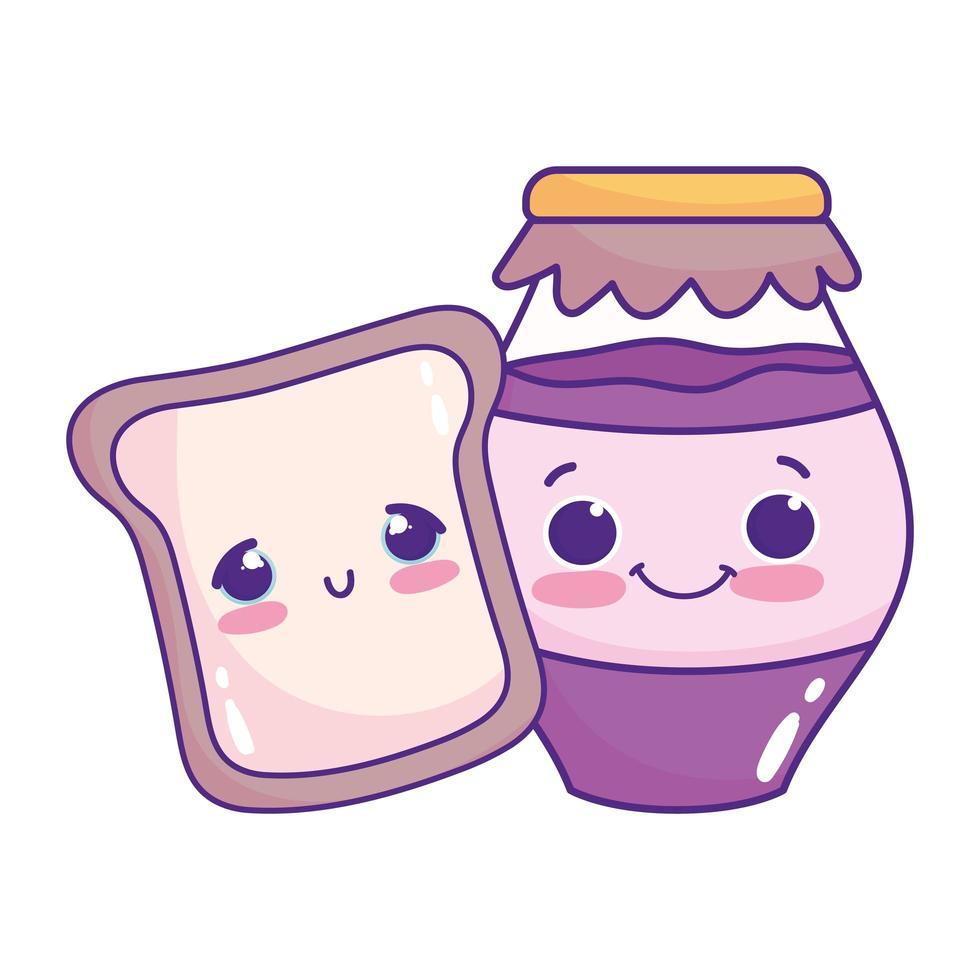 carino cibo pane e marmellata dolce dessert pasticceria cartone animato isolato design vettore