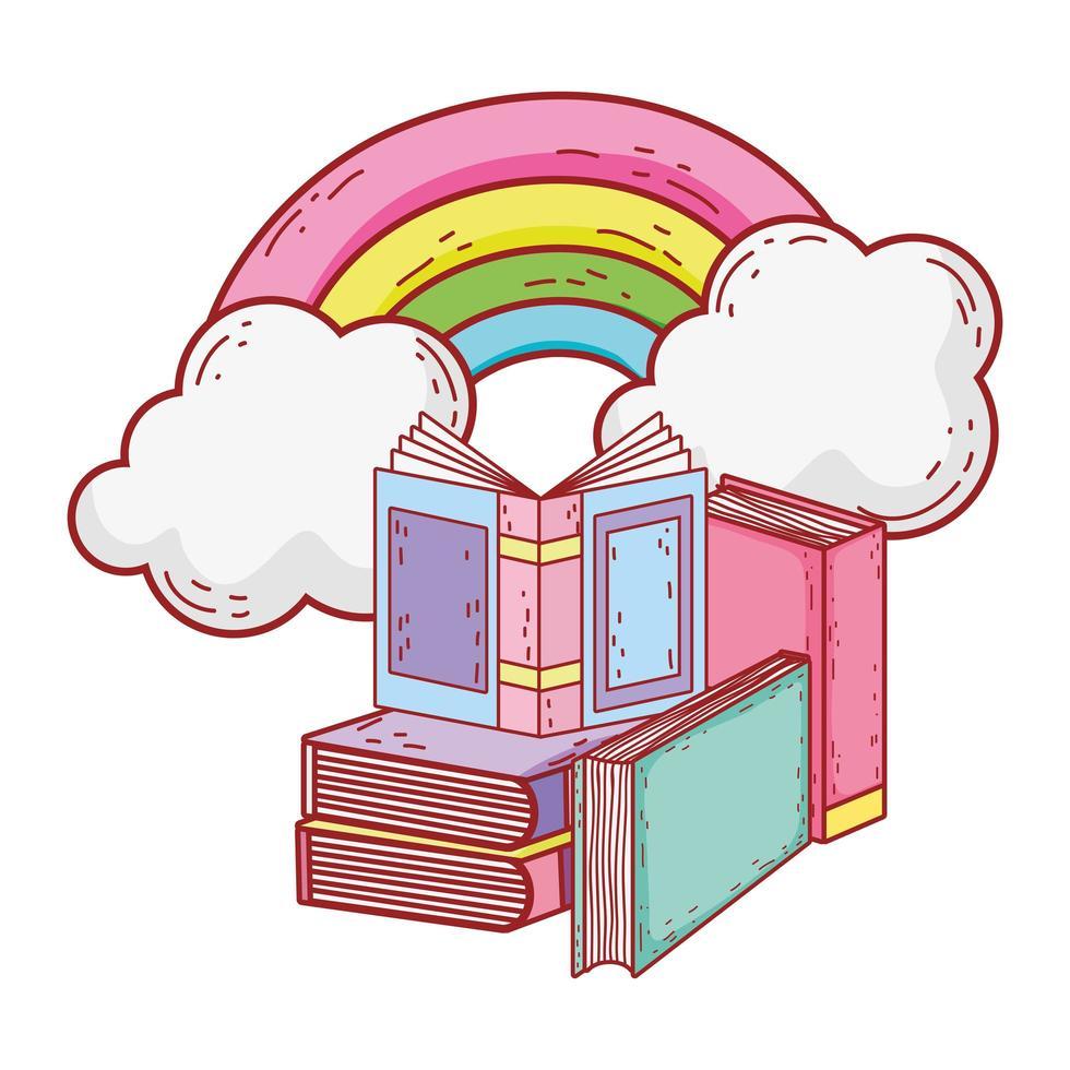 libro aperto in libri impilati rainbow sun cartoon vettore