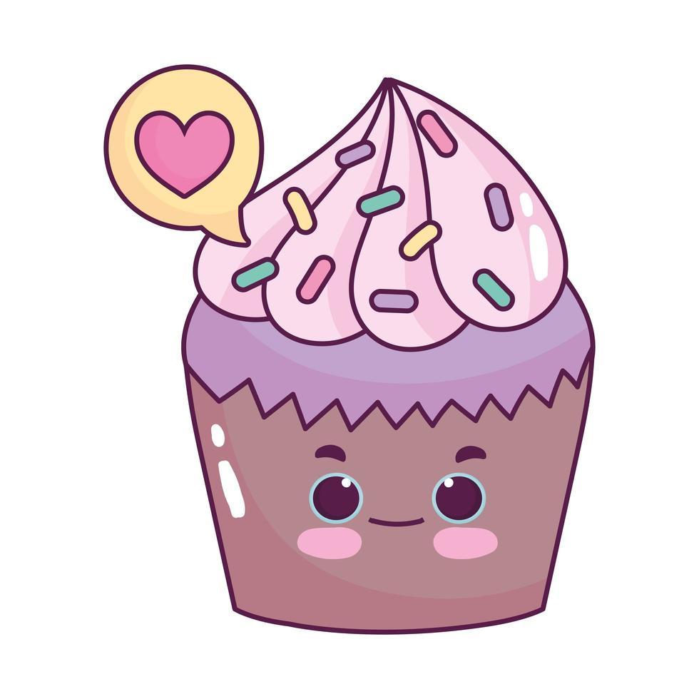 carino cibo cupcake amore cuore dolce dessert pasticceria cartone animato isolato design vettore
