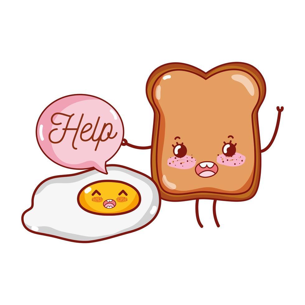 colazione carino uovo fritto e pane kawaii cartoon vettore