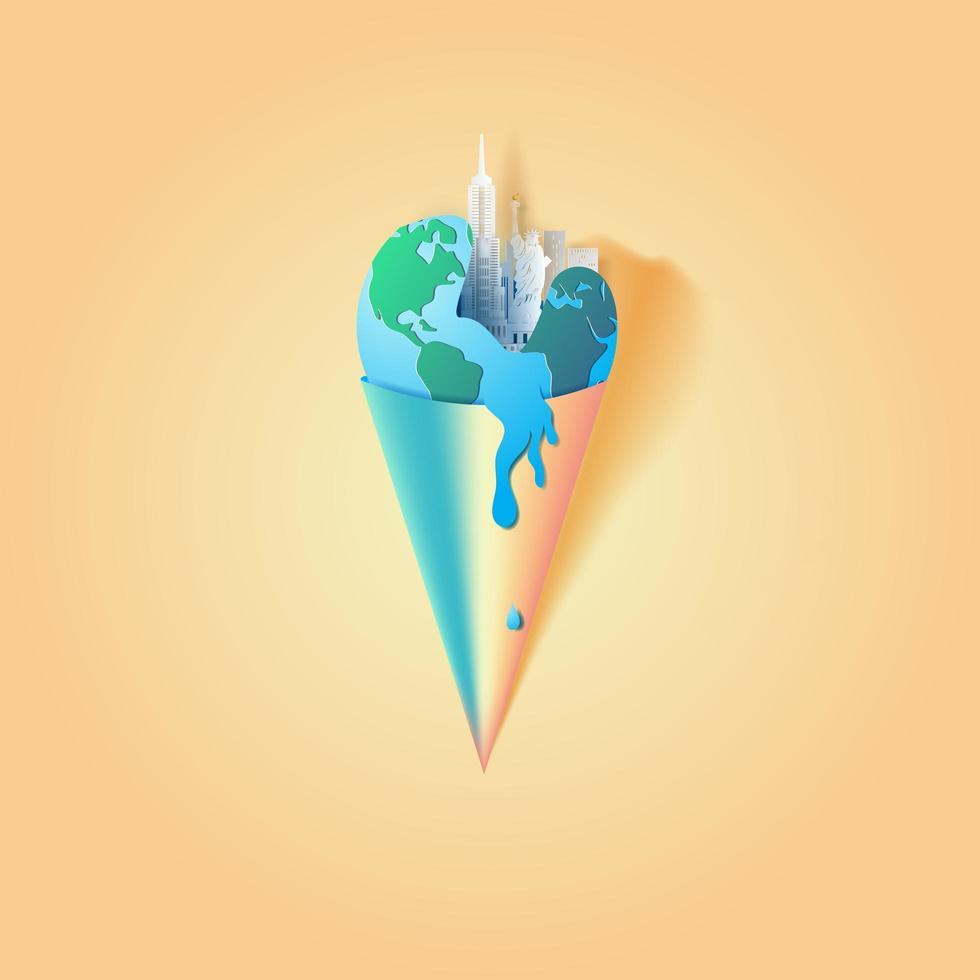arte di carta della terra in un cono gelato con monumenti di new york city vettore