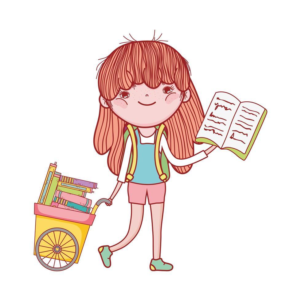 carino ragazza carrello a mano con libri cartoon design isolato vettore
