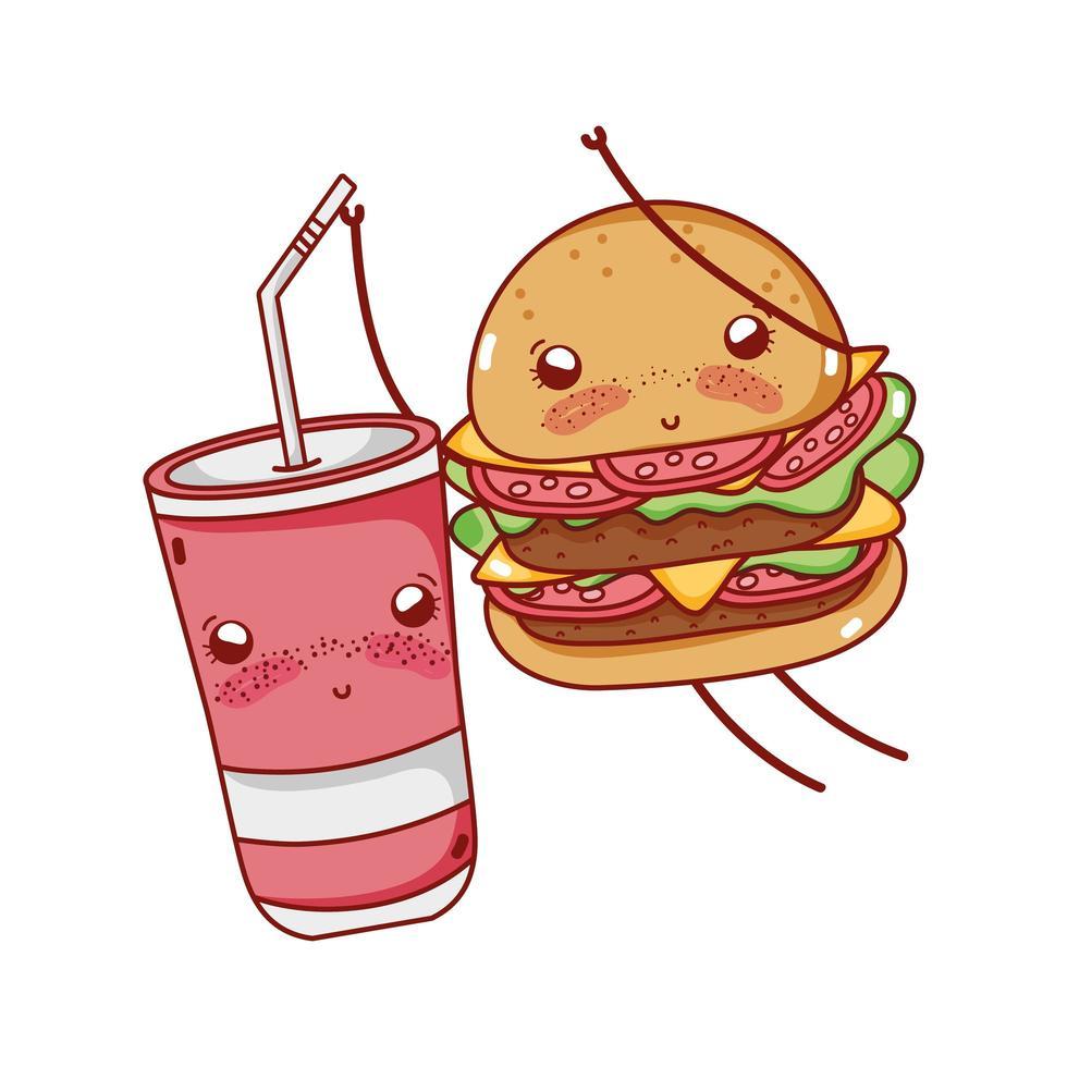 hamburger carino fast food e bicchiere di plastica che giocano nel cartone animato all'aperto vettore
