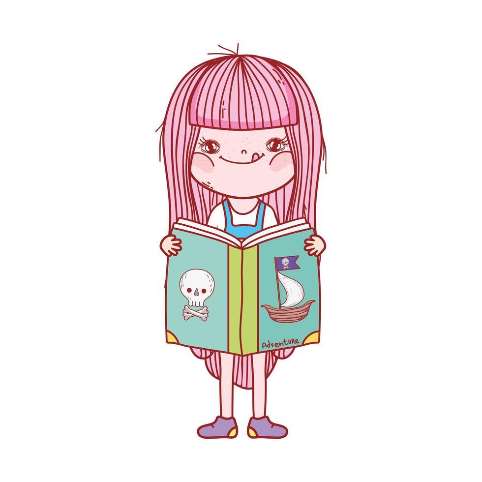 bambina lettura libro pirata avventura cartone animato isolato design vettore