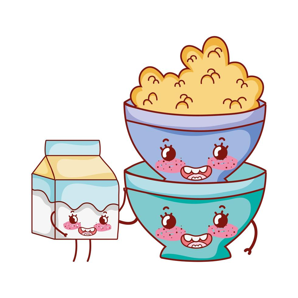 colazione ciotola carina con cartone animato scatola di cereali e latte vettore