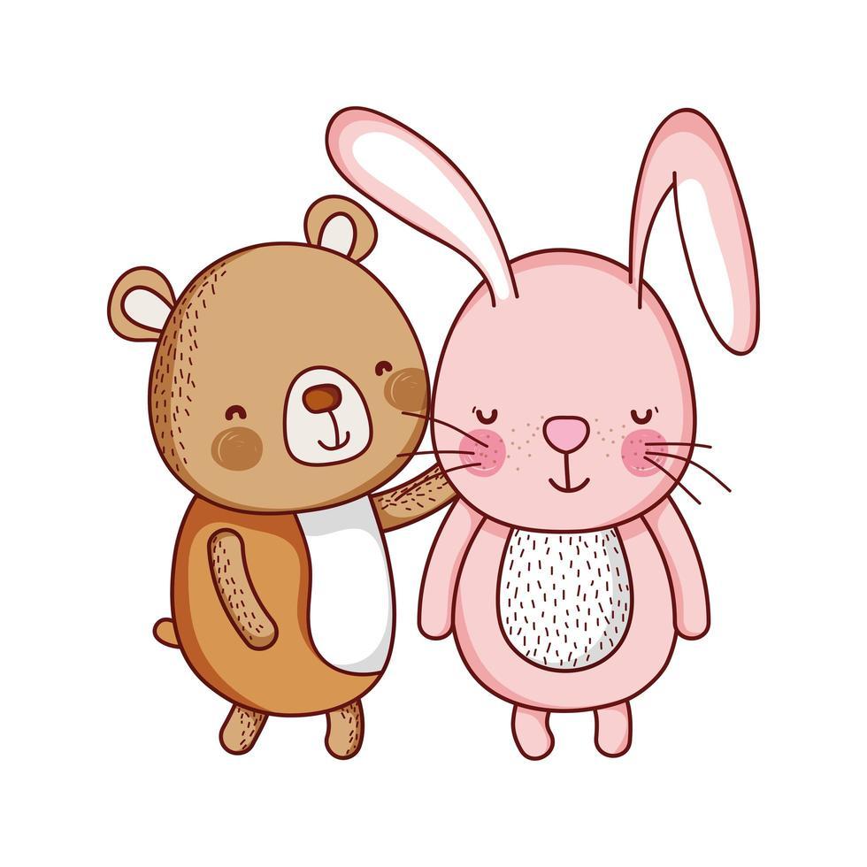 Simpatico coniglio e orso animale cartoon icona isolato design vettore