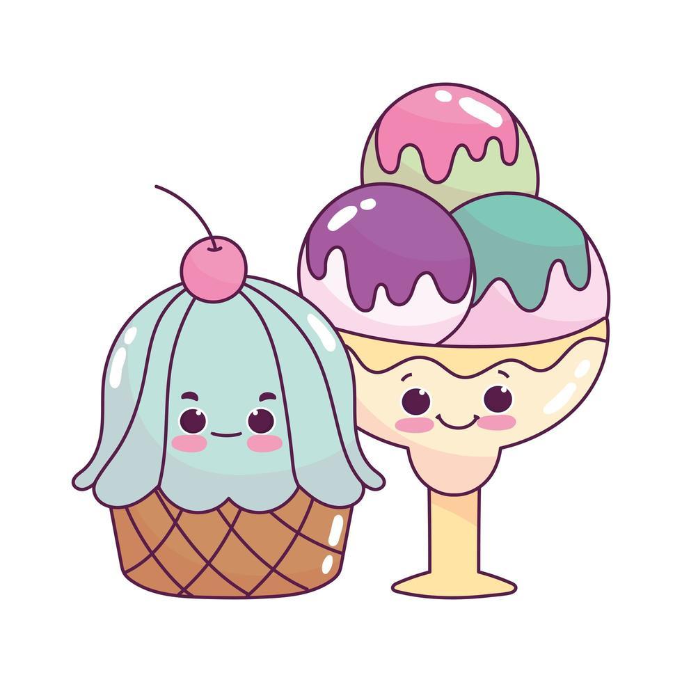 carino cibo gelato scoop e cupcake dolce dessert pasticceria cartone animato isolato design vettore