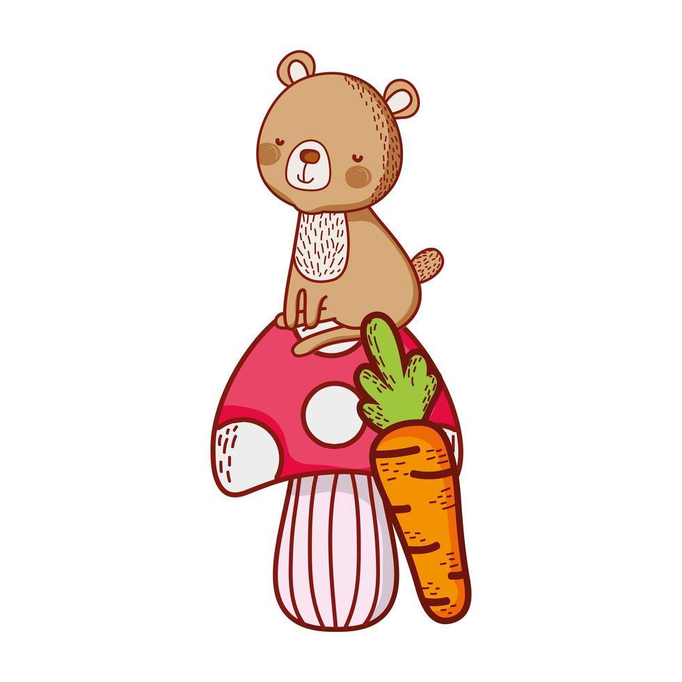 simpatici animali, orso sul fumetto di funghi carote vegetali vettore
