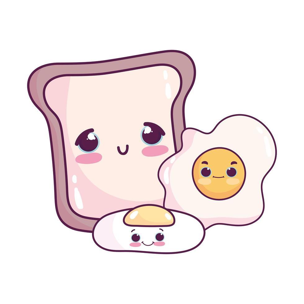 carino cibo colazione pane e uova fritte dolce dessert pasticceria cartone animato design isolato vettore