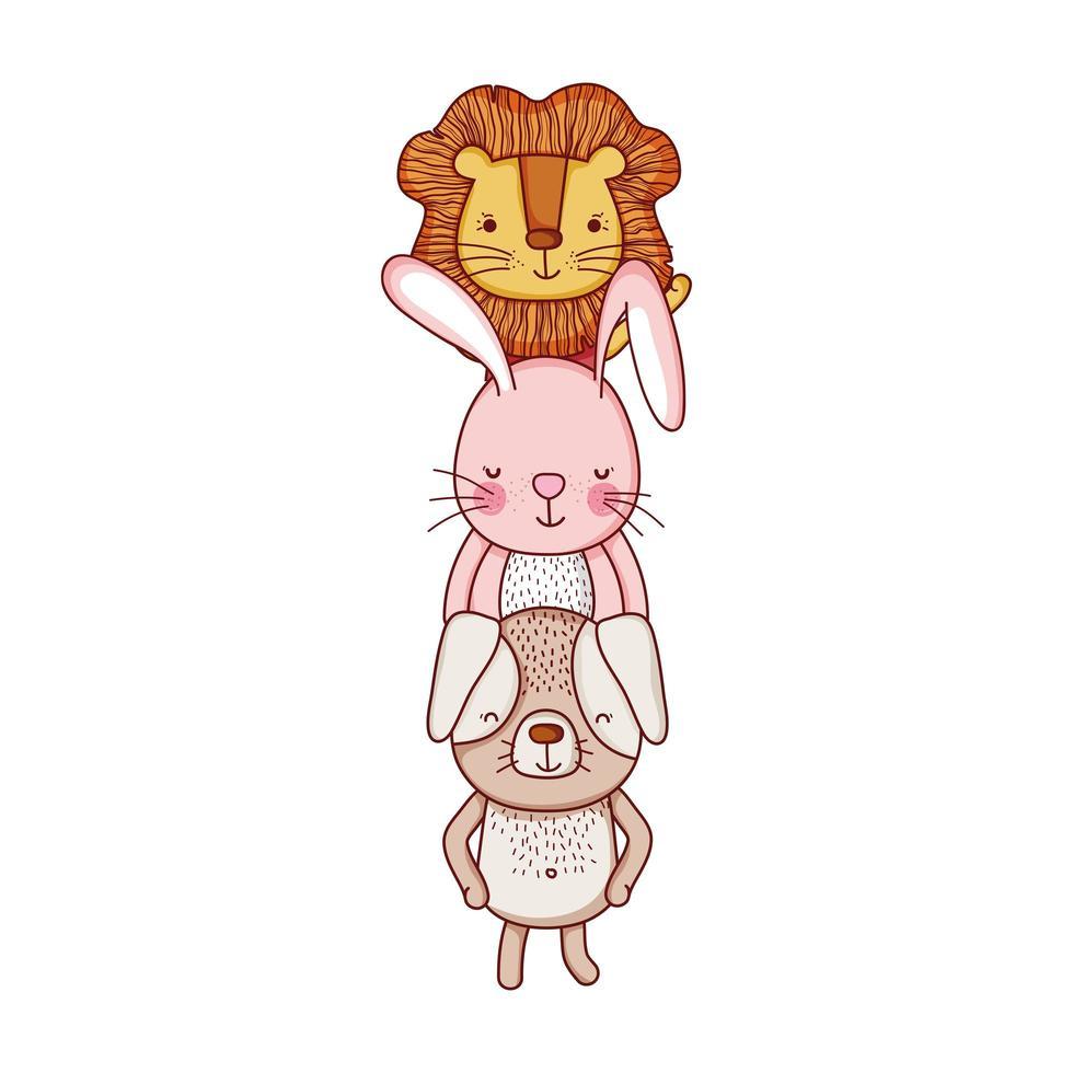simpatici animali, cartone animato leone coniglio cane isolato icona design vettore
