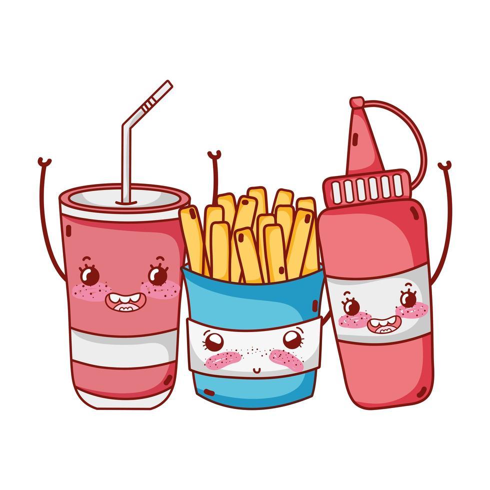fast food carino salsa di patatine fritte e cartone animato bicchiere di plastica vettore