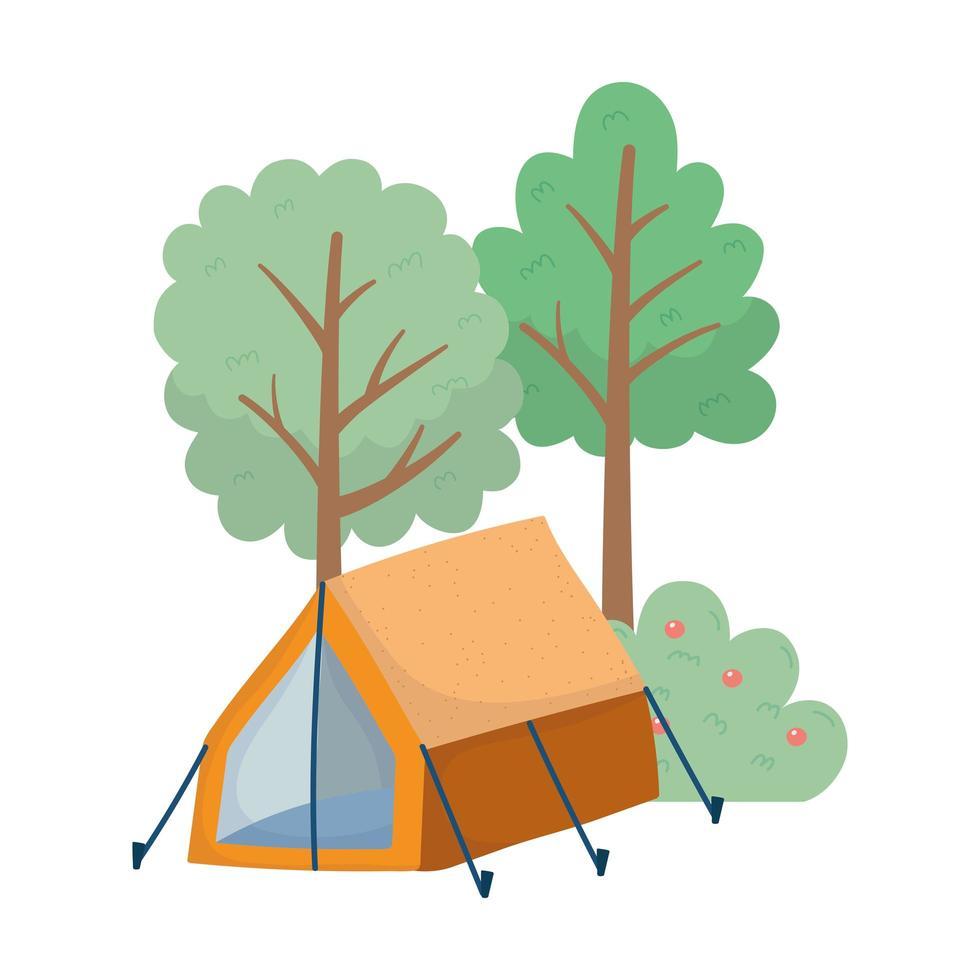 tenda da campeggio cespuglio mele frutta fogliame alberi natura cartone animato vettore
