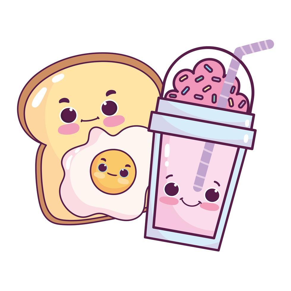 carino cibo colazione fetta pane uovo fritto dolce dessert pasticceria cartone animato isolato design vettore