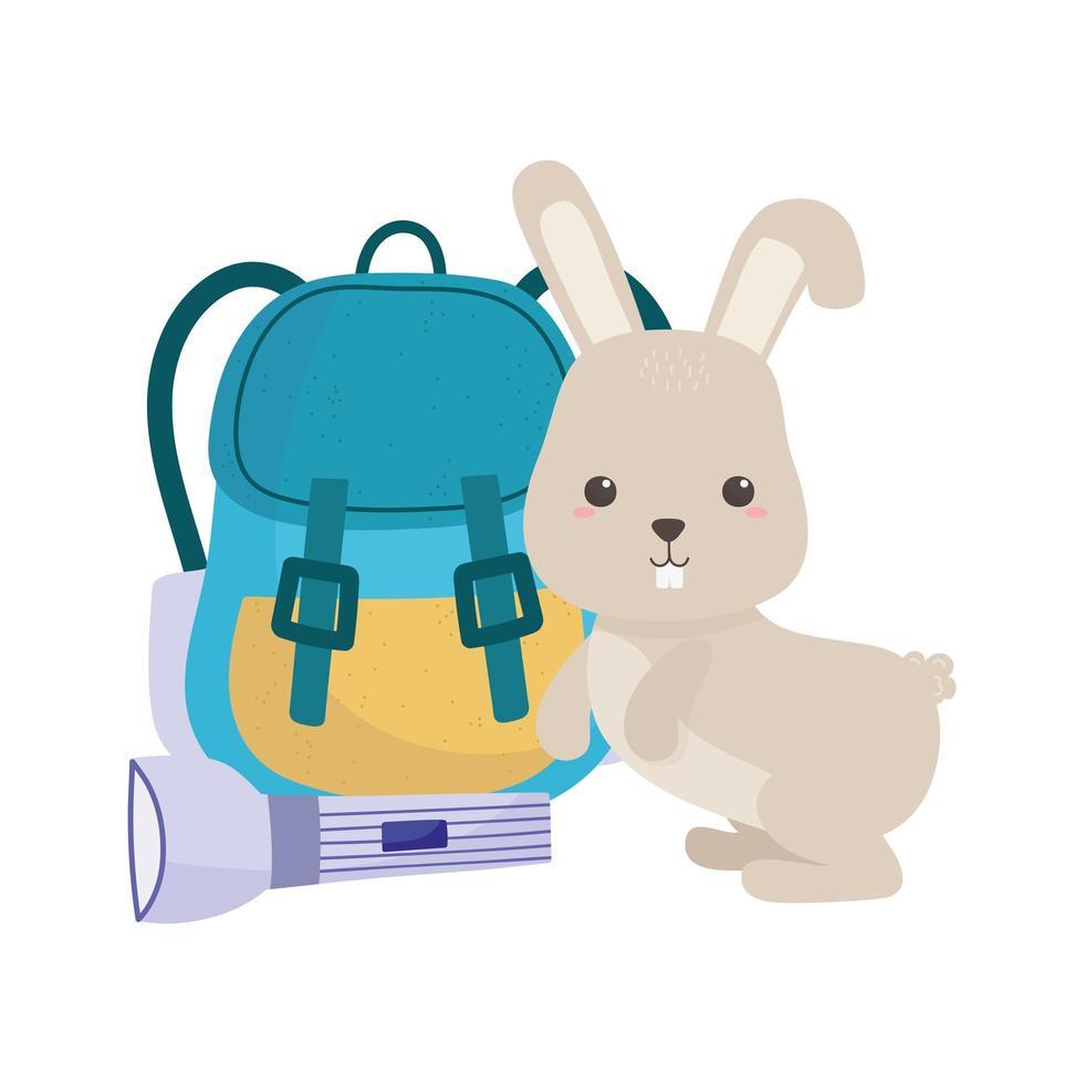 Campeggio carino coniglio e zaino cartoon icona isolato design vettore