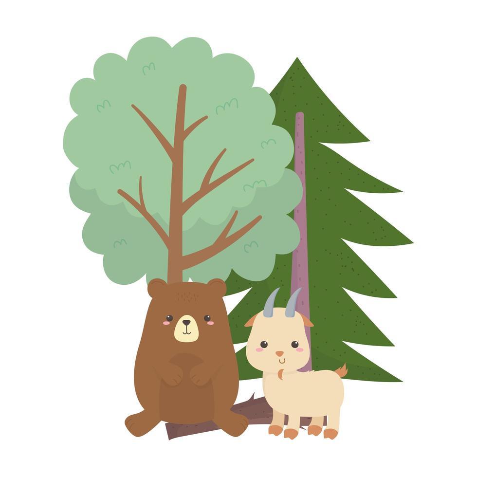 campeggio carino orso e capra alberi foresta cartone animato vettore