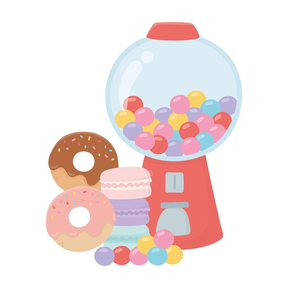 happy day, gumball machine ciambelle caramelle cartoon vettore