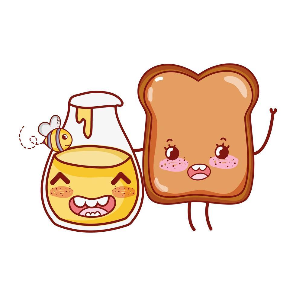 colazione carino pane e miele bottiglia kawaii cartoon vettore