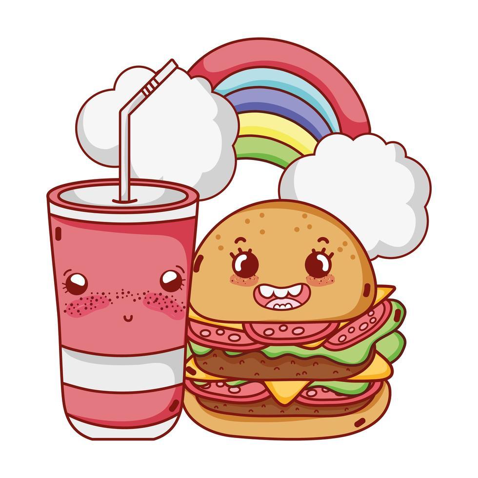 fast food simpatico hamburger gustoso bicchiere di plastica e fumetto di nuvole arcobaleno vettore