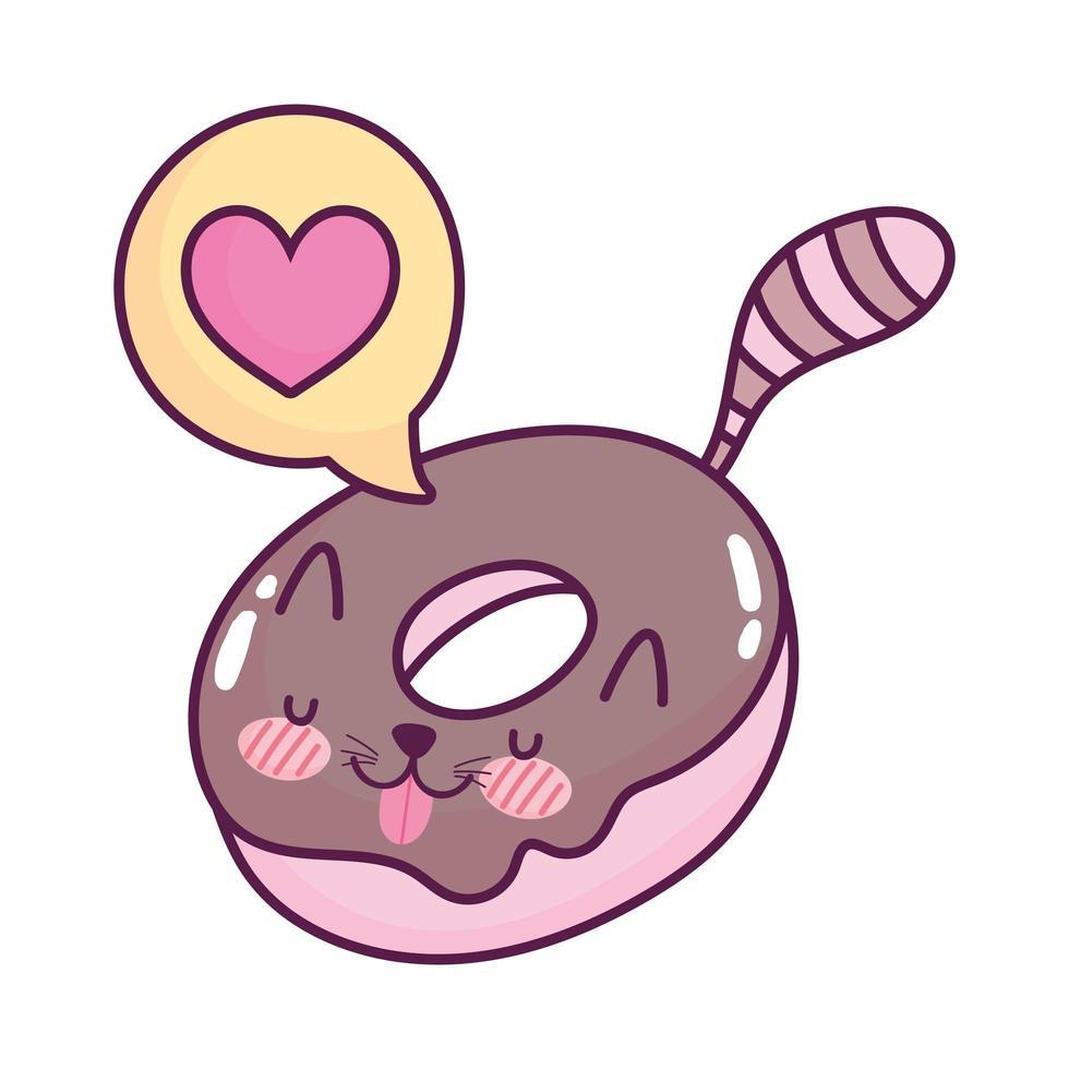 carino cibo ciambella parlare bolla dolce kawaii cartoon design isolato vettore