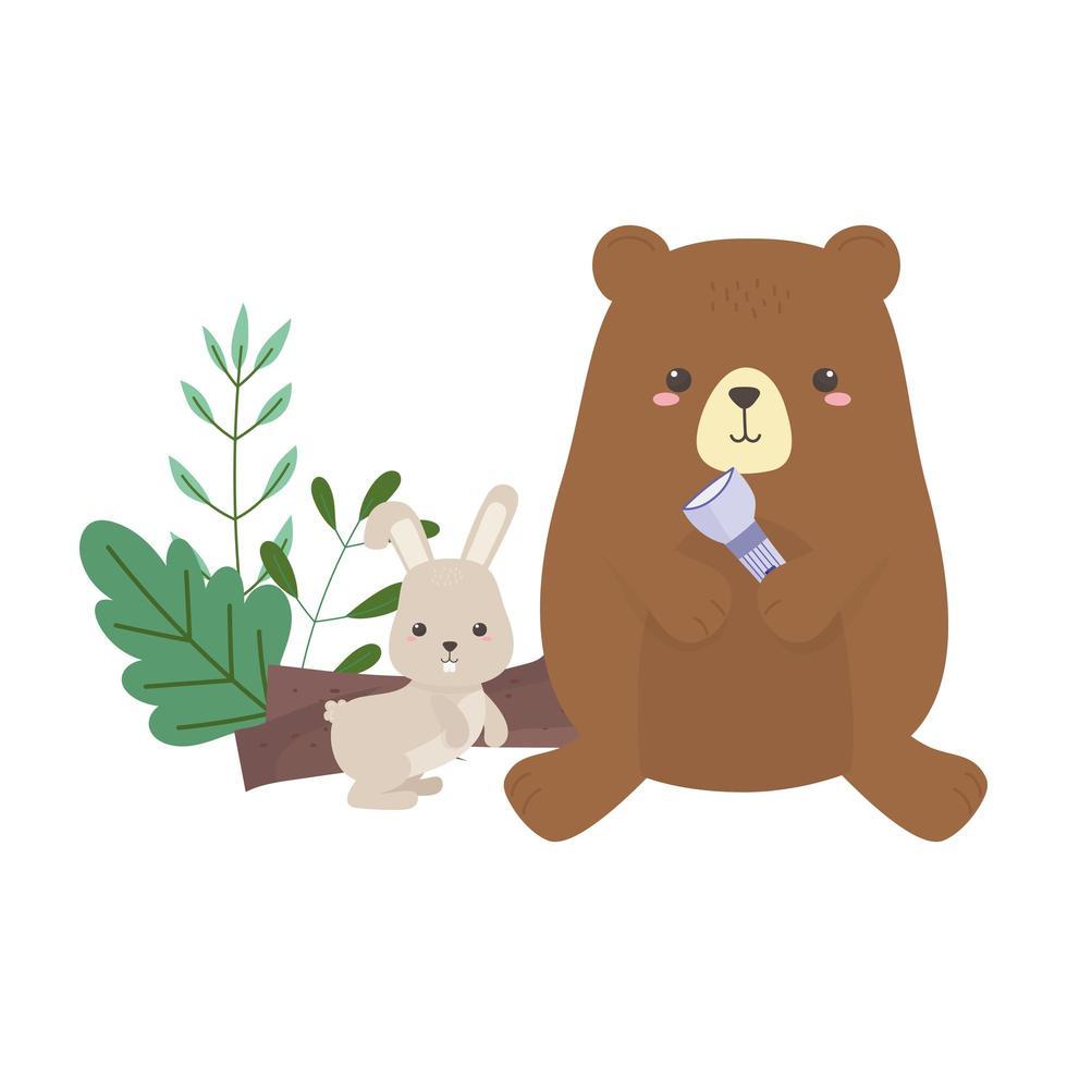 campeggio simpatico orso e coniglio con cartone animato fogliame lanterna vettore