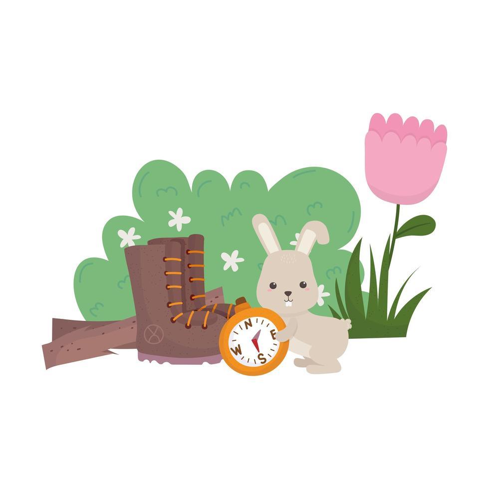 campeggio simpatico coniglio con bussola stivale fiore cespuglio natura cartone animato vettore