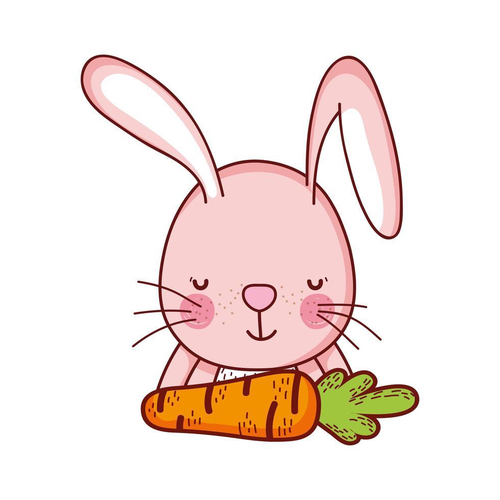 simpatici animali, coniglio con carota cibo cartone animato icona isolato design vettore