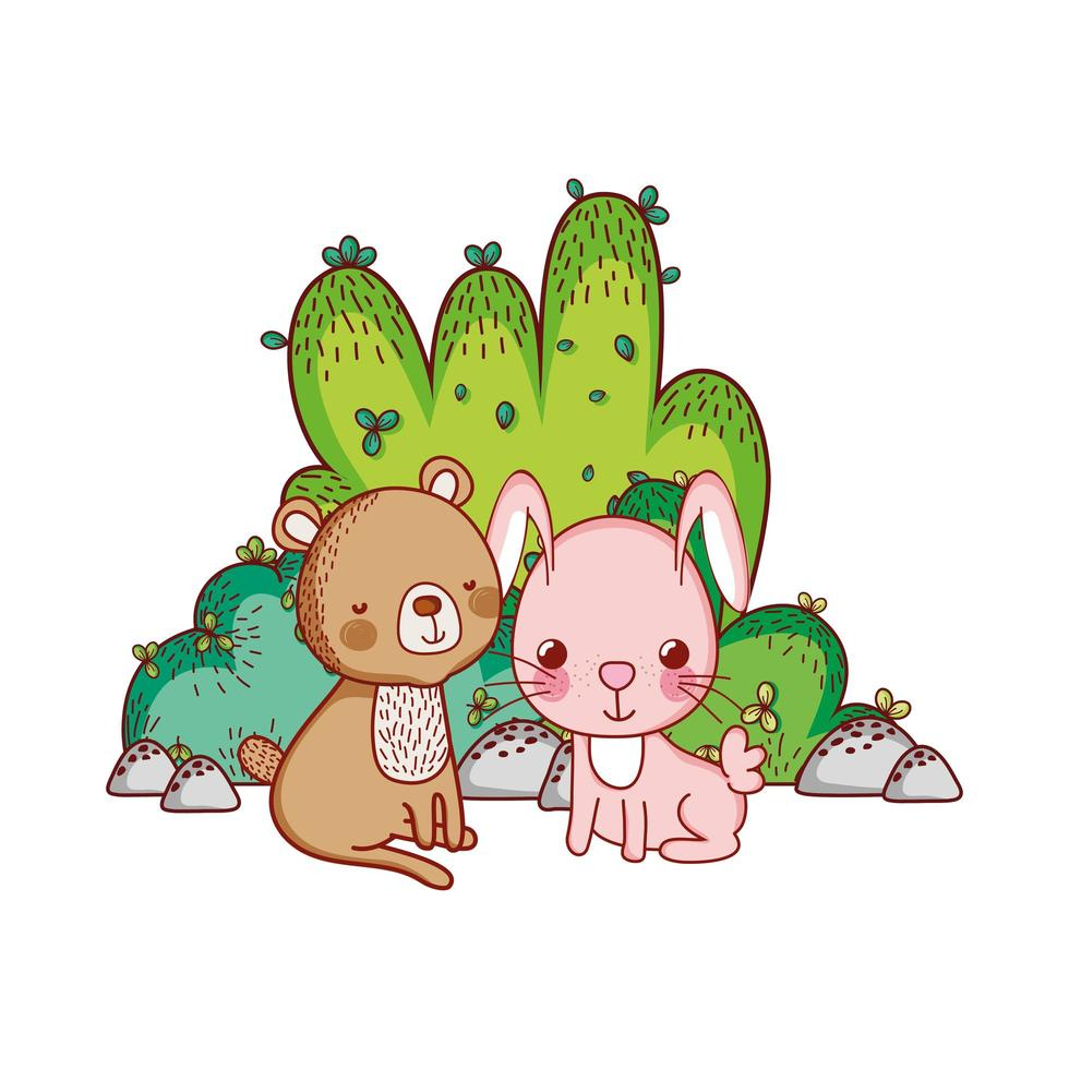 simpatici animali, cartone animato di foglie di orso e coniglio vettore