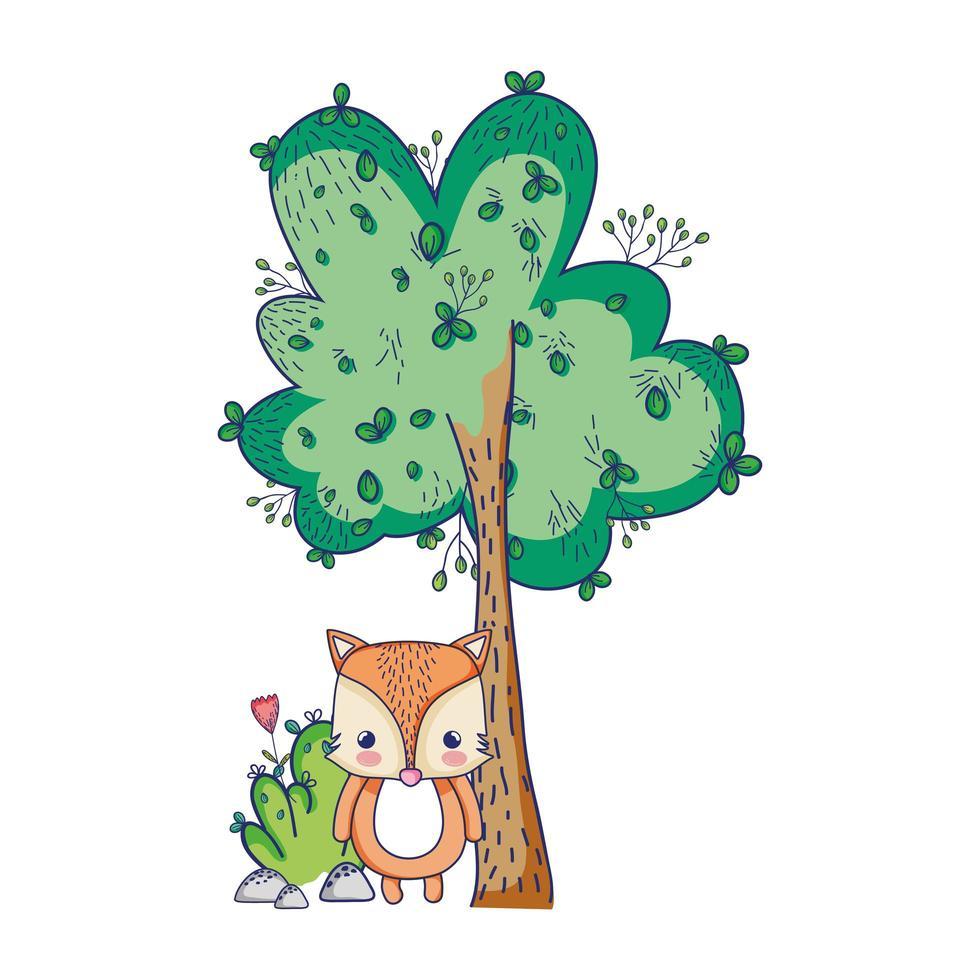 simpatici animali, piccola volpe fiore albero natura botanica design isolato vettore