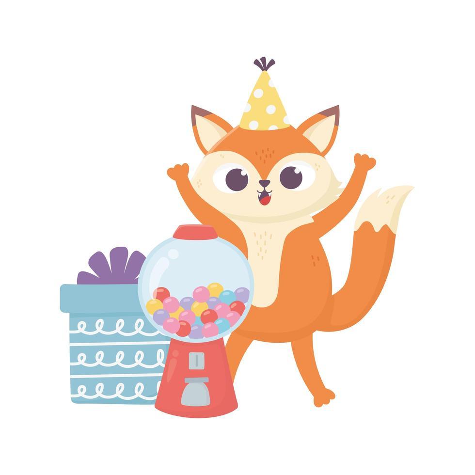 buon giorno, piccola volpe con scatola regalo e caramelle vettore