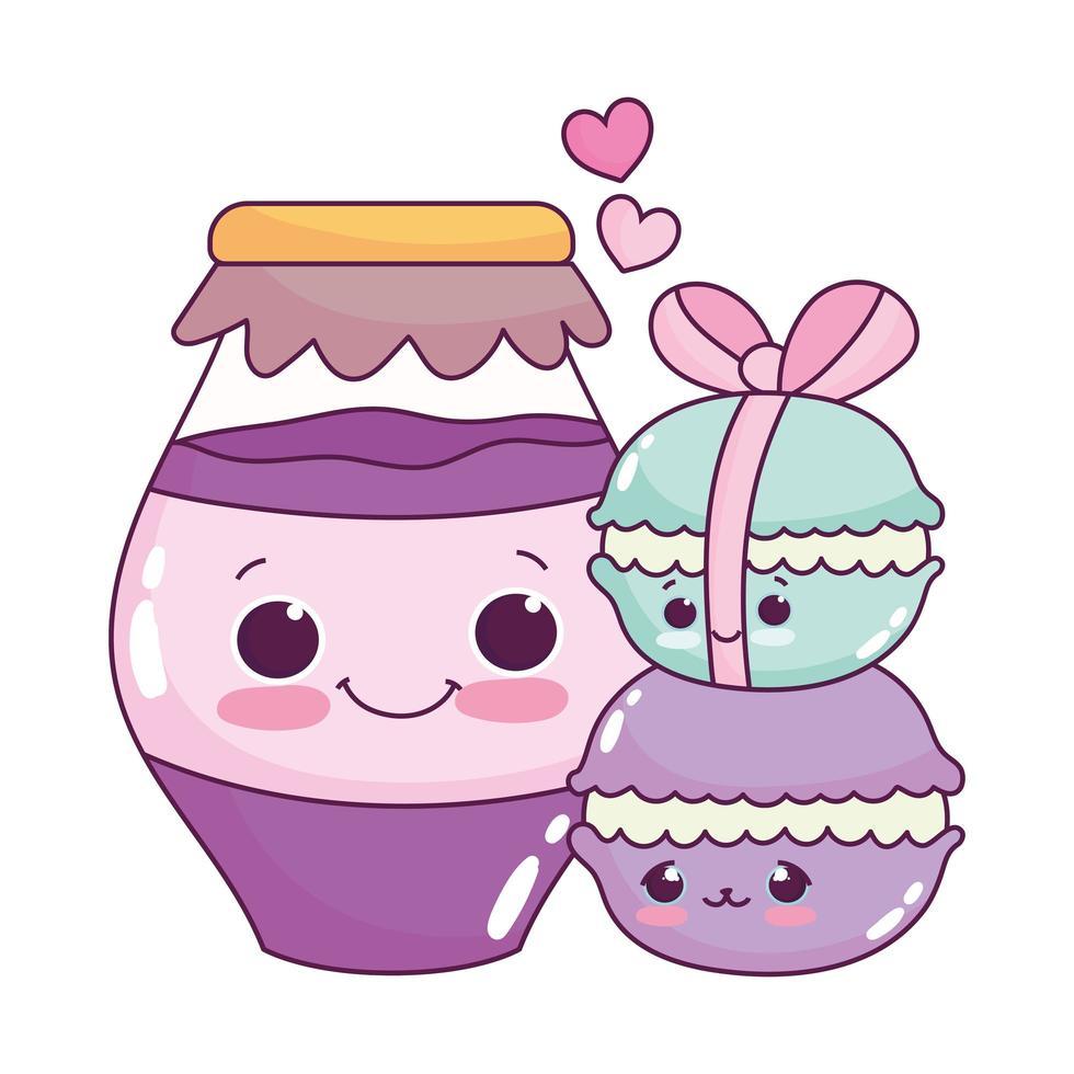carino cibo macarons e vaso con marmellata dolce dessert pasticceria cartone animato design isolato vettore