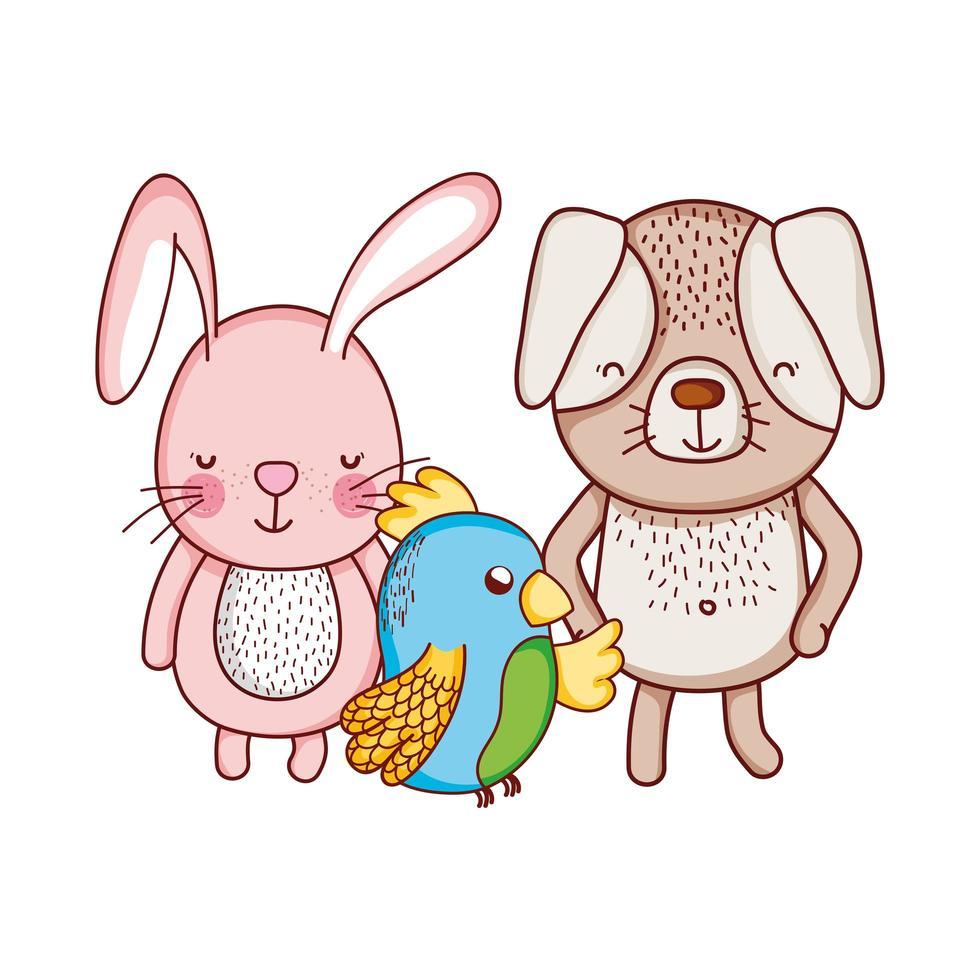 simpatici animali, cane coniglio e pappagallo fumetto icona isolato design vettore
