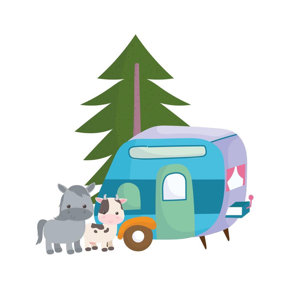 Campeggio carino asino mucca e rimorchio albero fumetto icona isolato design vettore