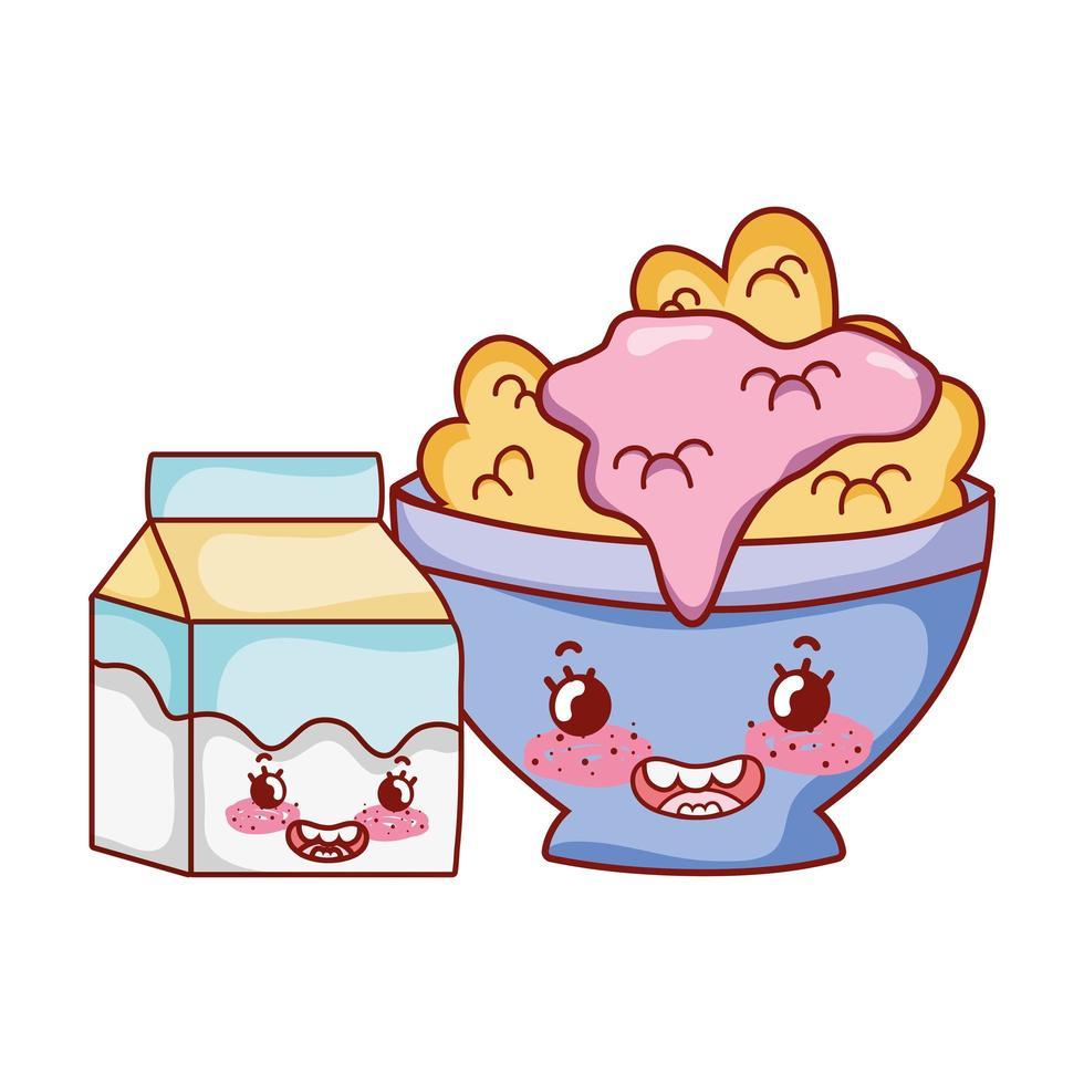 colazione carina ciotola con yogurt ai cereali e cartone animato scatola di latte vettore