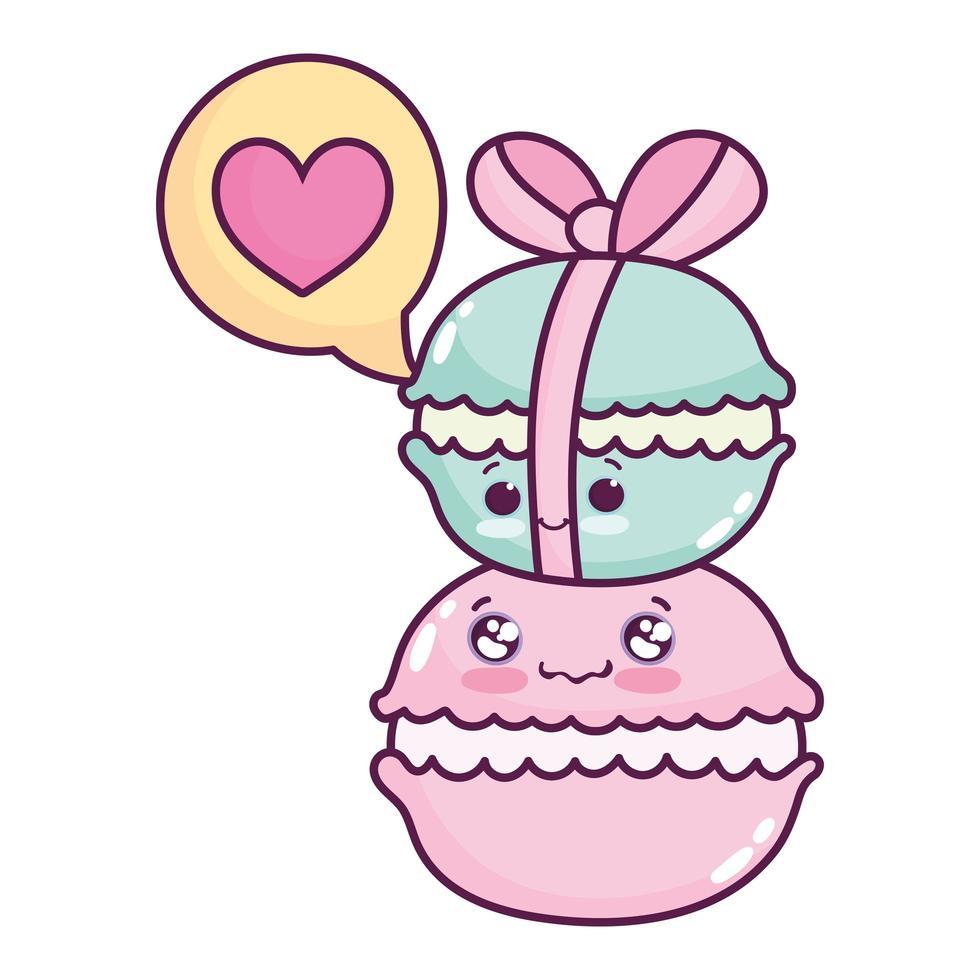 carino, cibo, mucchio, di, amaretto, dolce, dessert, pasticceria, cartone animato, isolato, disegno vettore