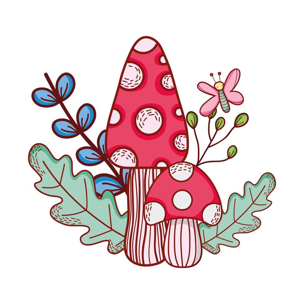 carino funghi farfalla ramo foglie cartone animato vettore