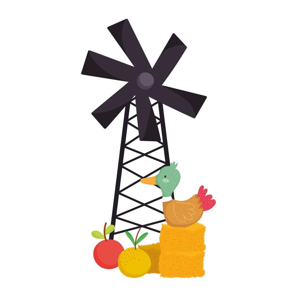 animali da fattoria anatra nel cartone animato di mulino a vento frutti di fieno vettore