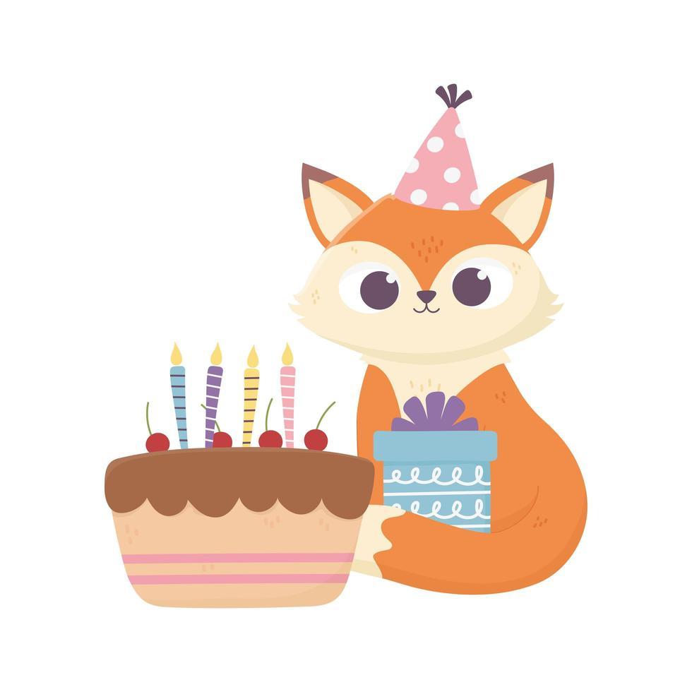 giorno felice, piccola volpe seduta con regalo e torta vettore