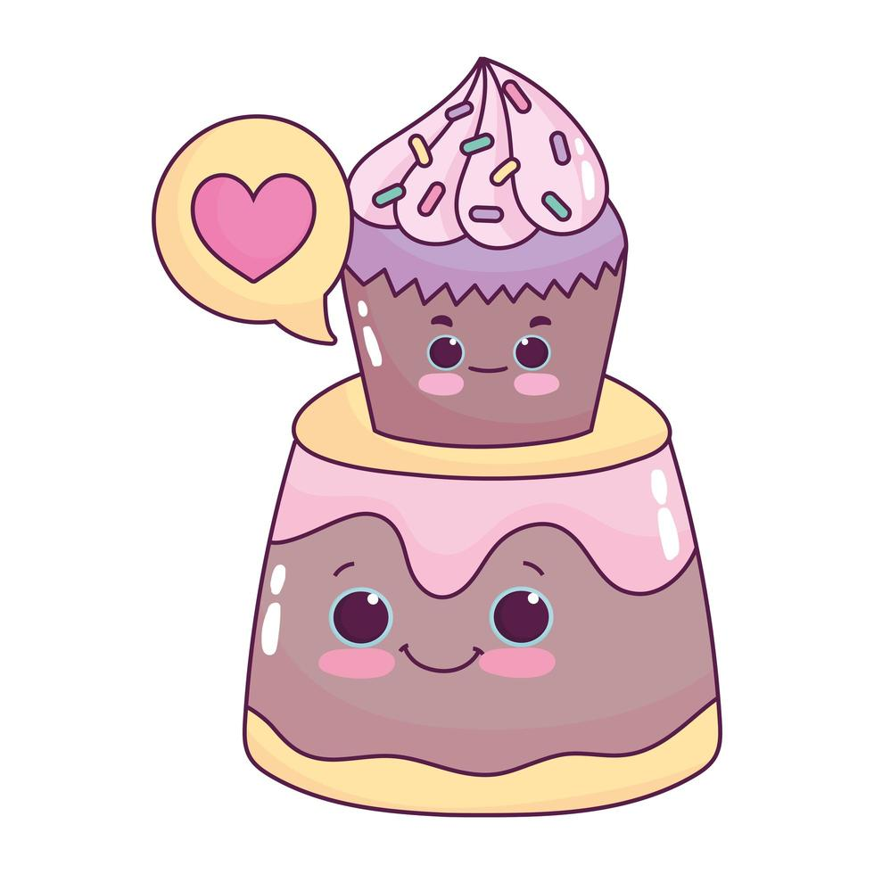 carino cupcake cibo su gelatina amore dolce dessert pasticceria cartone animato isolato design vettore