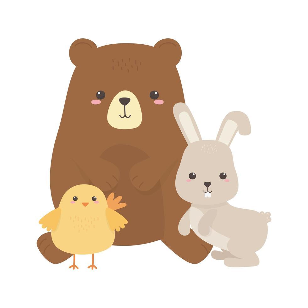 simpatico orso pollo e coniglio piccolo animale cartone animato disegno isolato vettore