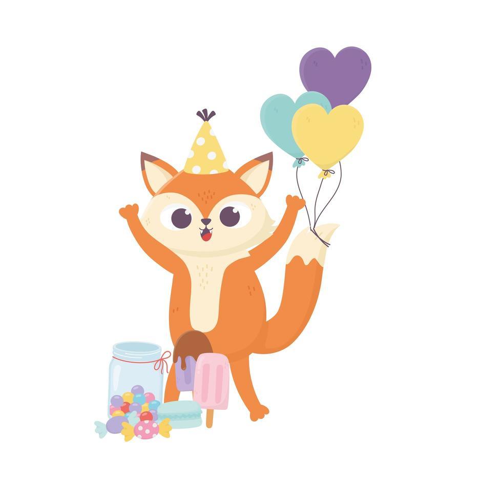 buon giorno, piccola volpe con palloncini gelato al caramello in stick vettore