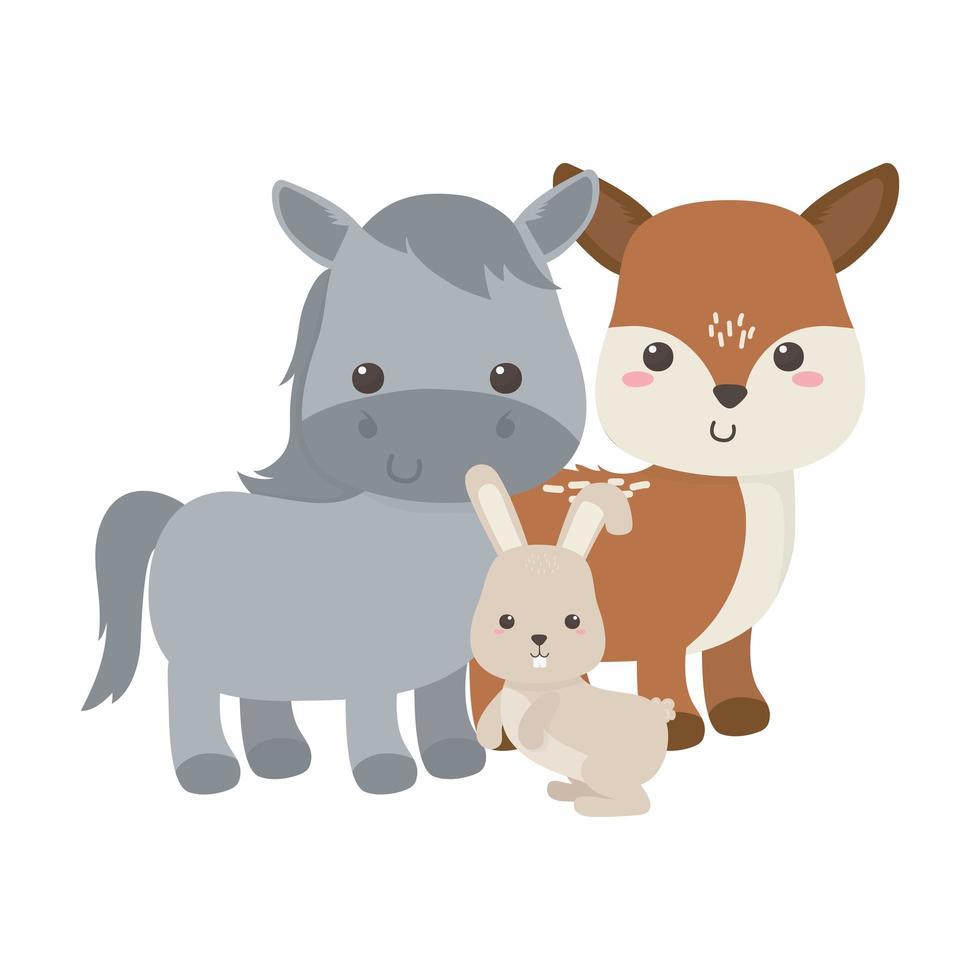 carino piccolo cavallo cervo e coniglio animale cartone animato isolato design vettore