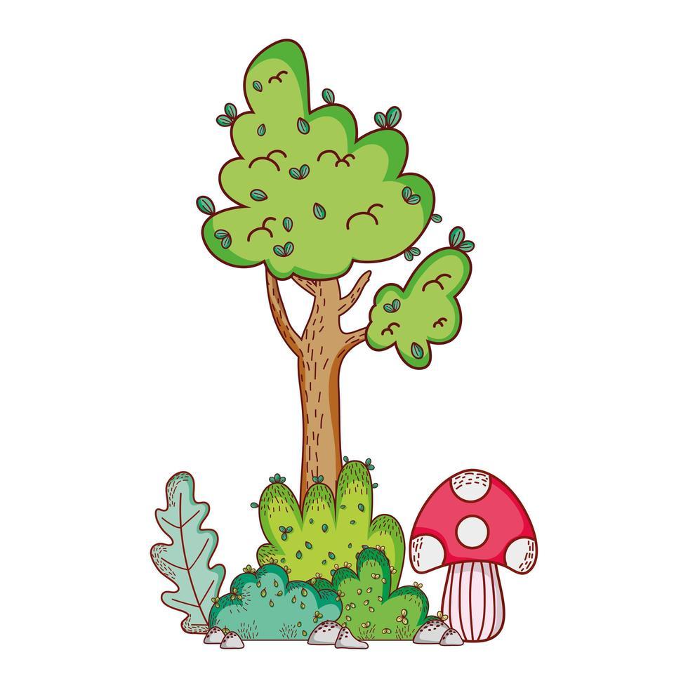 albero fungo ramo foglie fogliame natura cartone animato vettore