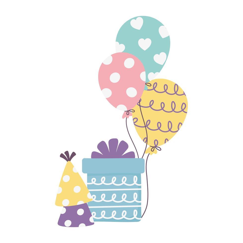 felice giorno, confezione regalo palloncini festa cappello celebrazione decorazione vettore