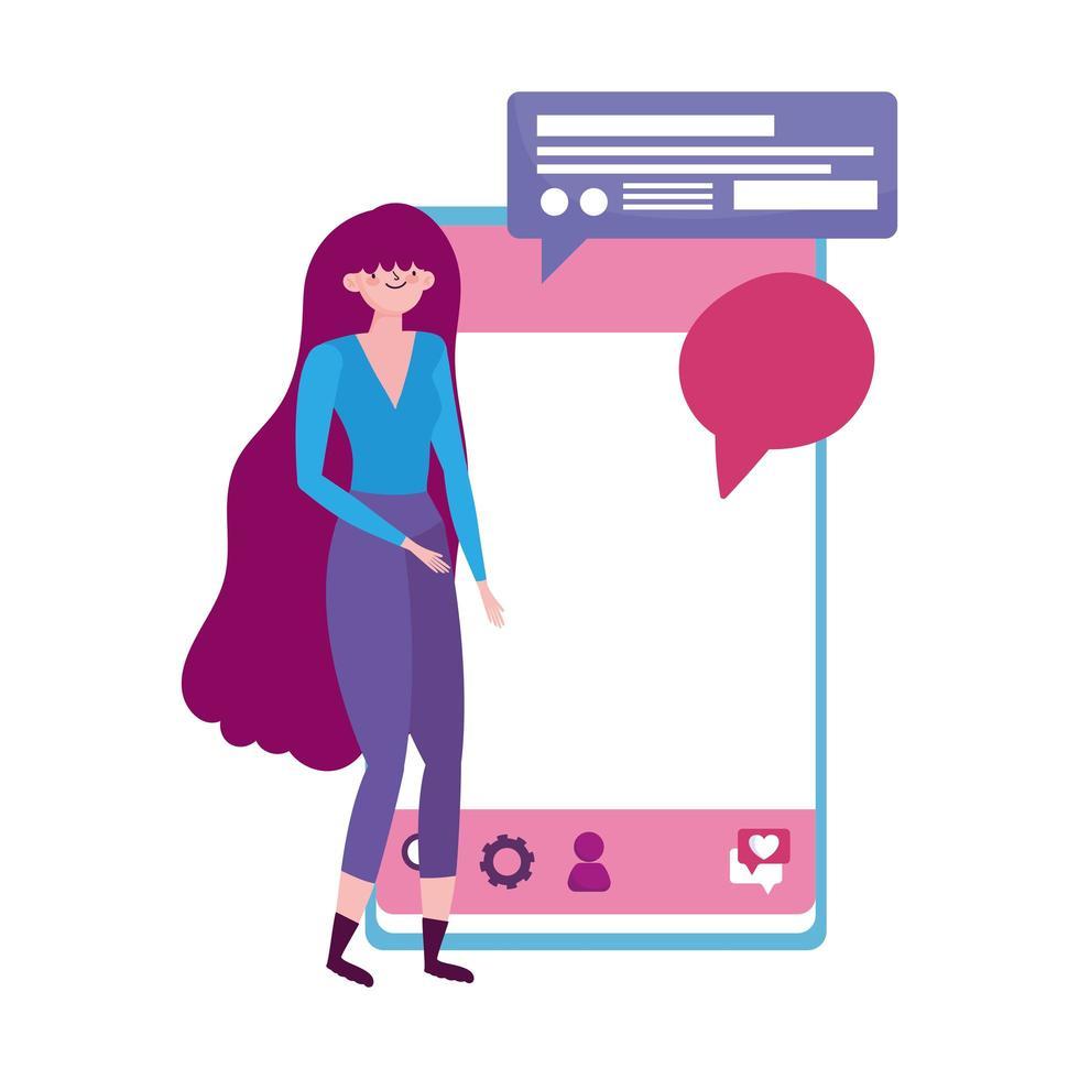 persone e smartphone, giovane donna con messaggio di bolla di discorso del dispositivo mobile vettore