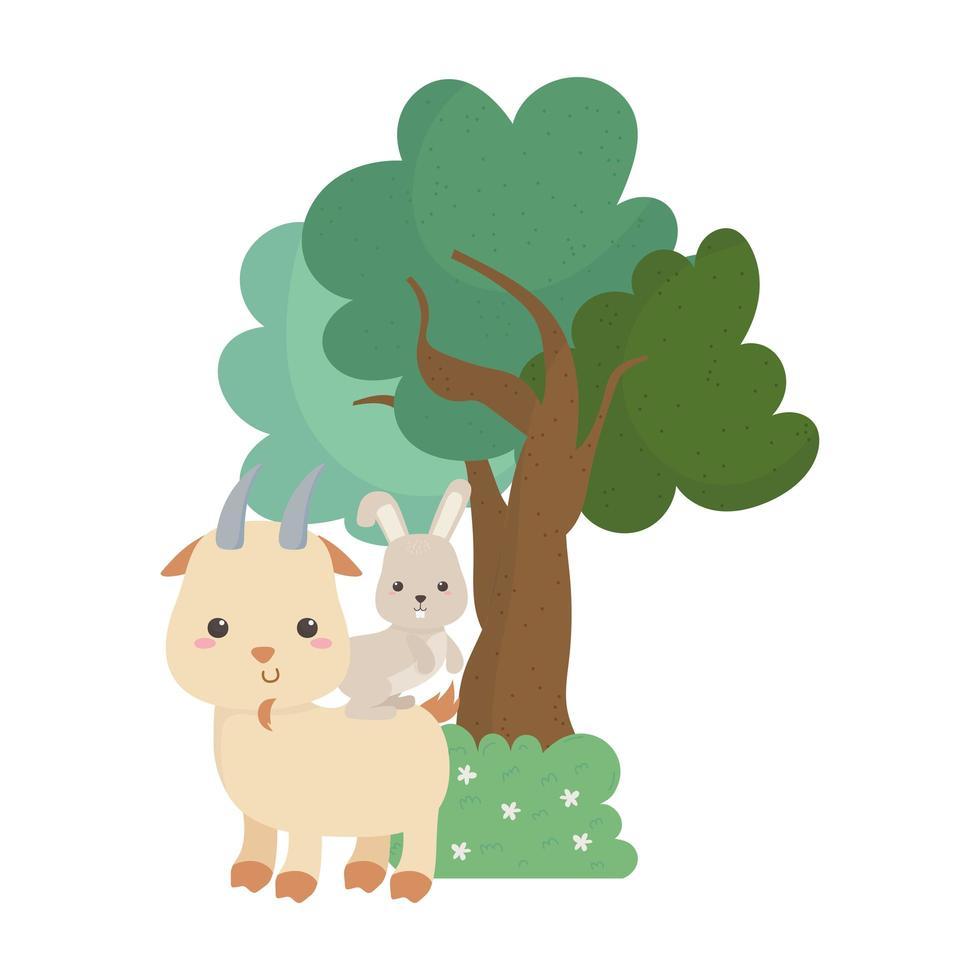 Campeggio carino capra e coniglio cespuglio albero fiori icona isolato design vettore