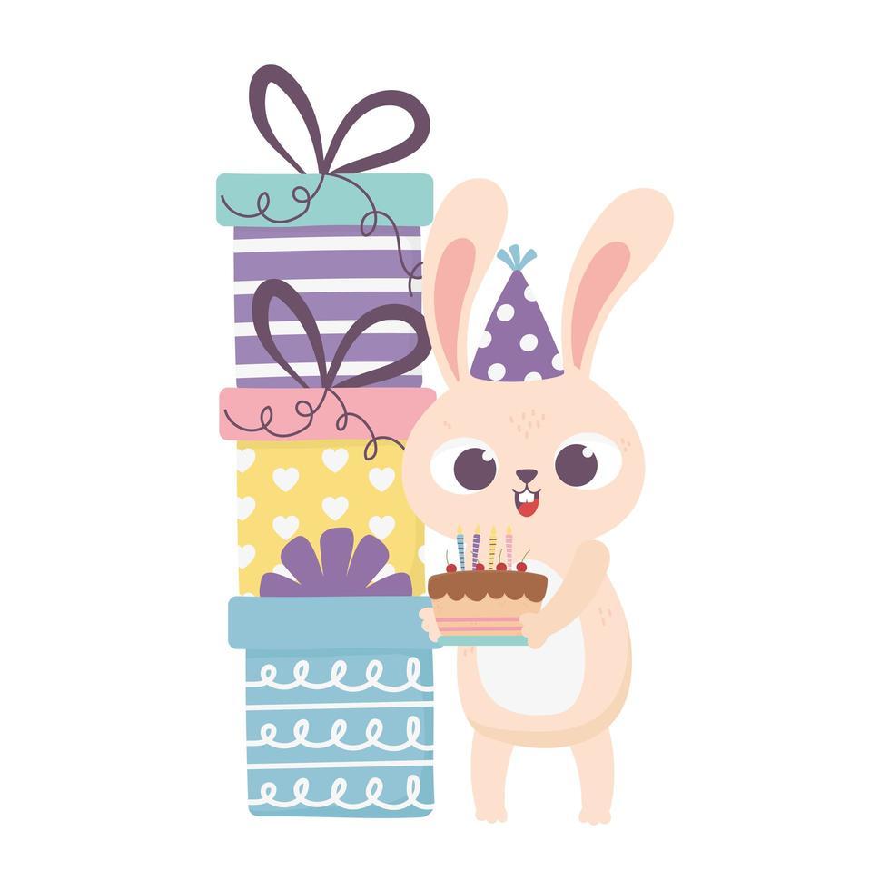 giorno felice, coniglio con torta cappello da festa impilati regali e palloncini vettore