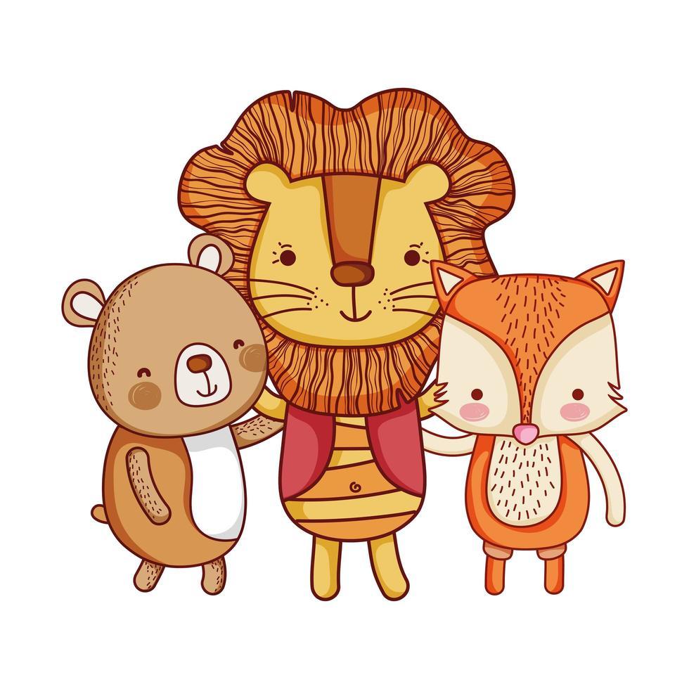 simpatici animali, cartoon lion fox e bear cartoon isolated icon design vettore