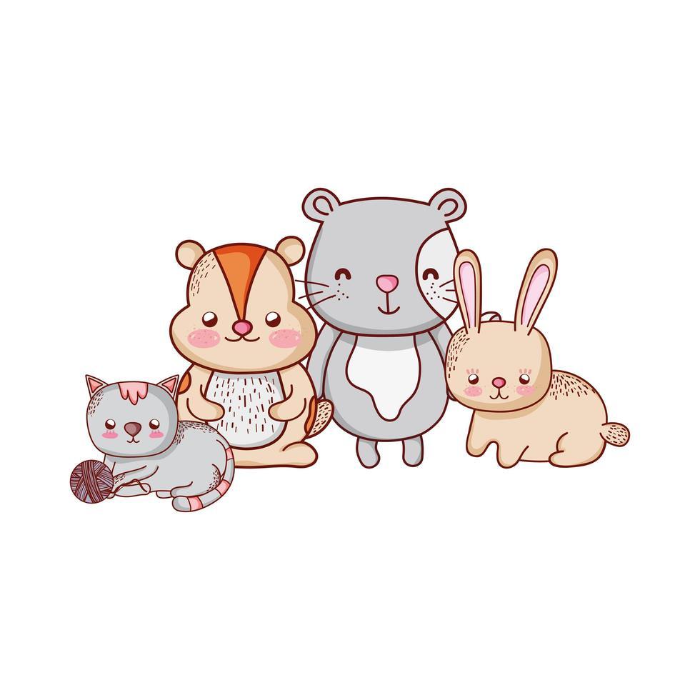 simpatici animali, coniglio, gatto castoro e cartone animato coniglio vettore